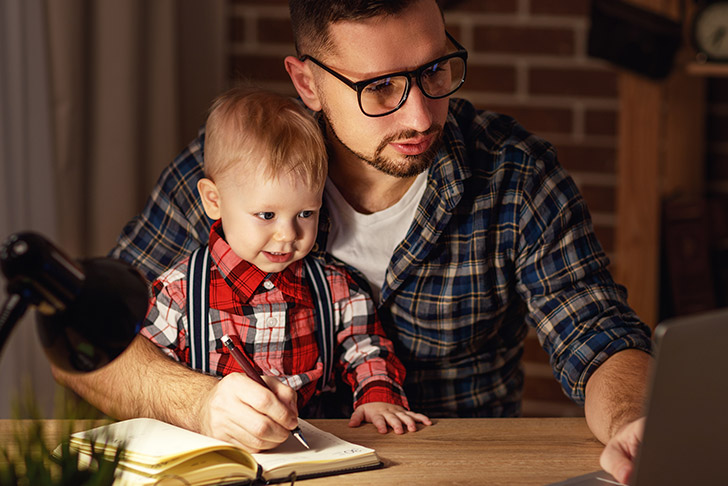 online student with child