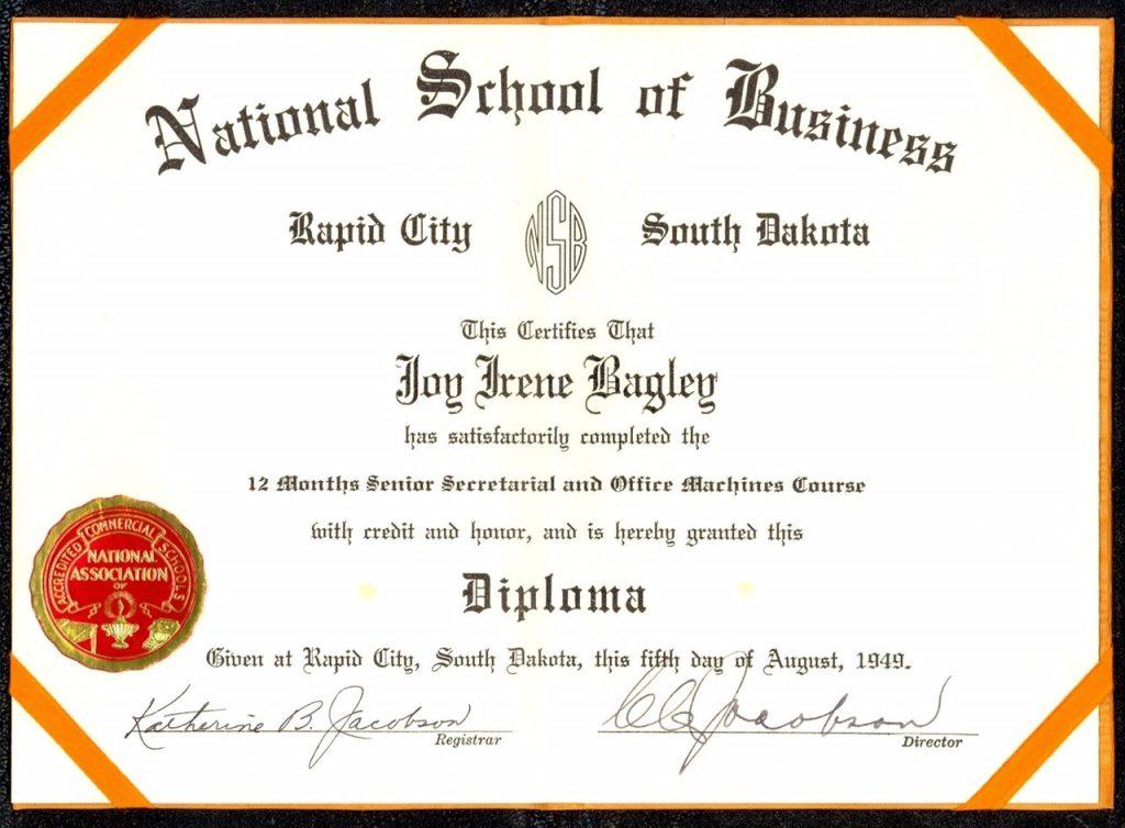 joy bagley diploma
