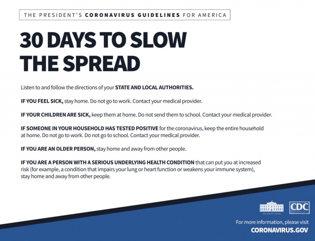 CDC Covid 19 graphic 30 days to slow the spread