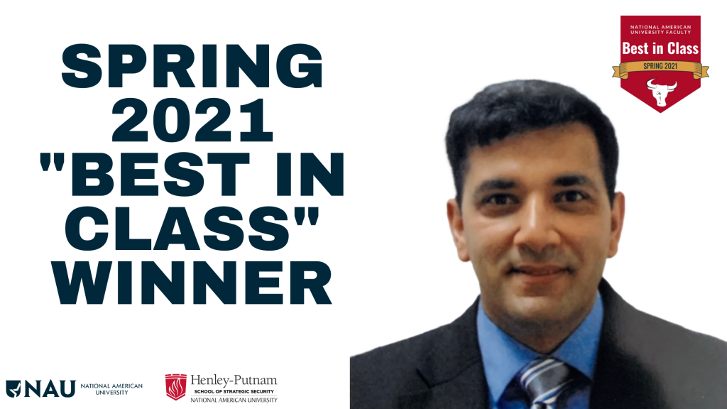 """For the Spring 2021 academic quarter, NAU's leadership team is honored and proud to present the """"Best in Class"""" award to Dr. Ahmed Al-Asfour."""